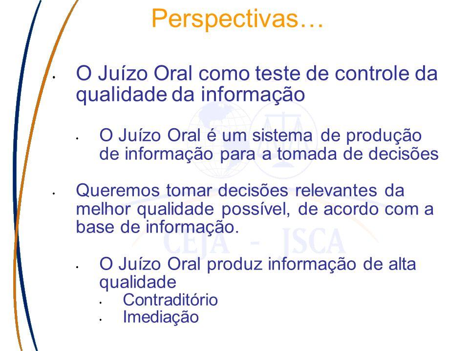 Perspectivas… O Juízo Oral como teste de controle da qualidade da informação O Juízo Oral é um sistema de produção de informação para a tomada de decisões Queremos tomar decisões relevantes da melhor qualidade possível, de acordo com a base de informação.