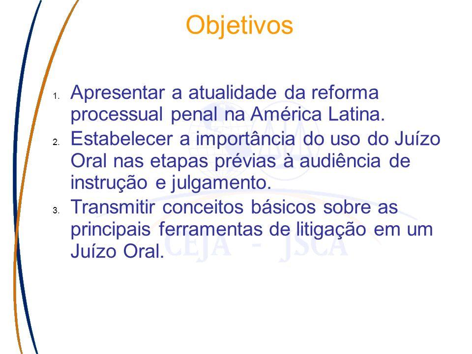 Objetivos 1. Apresentar a atualidade da reforma processual penal na América Latina.