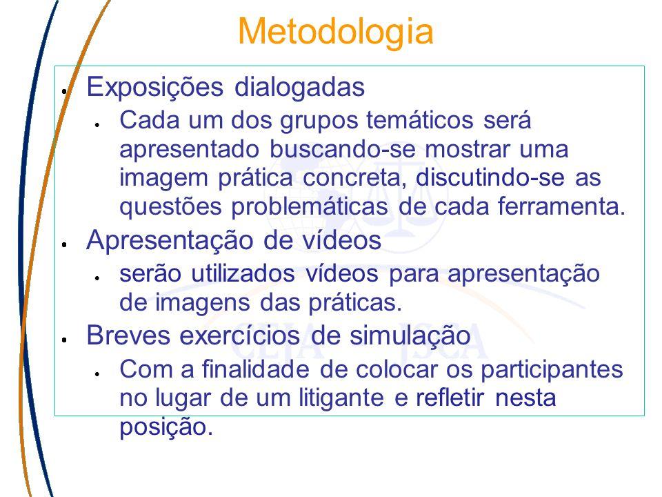 Metodologia Exposições dialogadas Cada um dos grupos temáticos será apresentado buscando-se mostrar uma imagem prática concreta, discutindo-se as questões problemáticas de cada ferramenta.