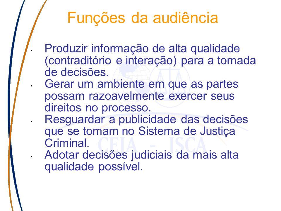 Funções da audiência Produzir informação de alta qualidade (contraditório e interação) para a tomada de decisões.