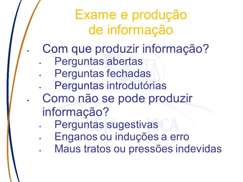 Com que produzir informação? Perguntas abertas Perguntas fechadas Perguntas introdutórias Como não se pode produzir informação? Perguntas sugestivas E