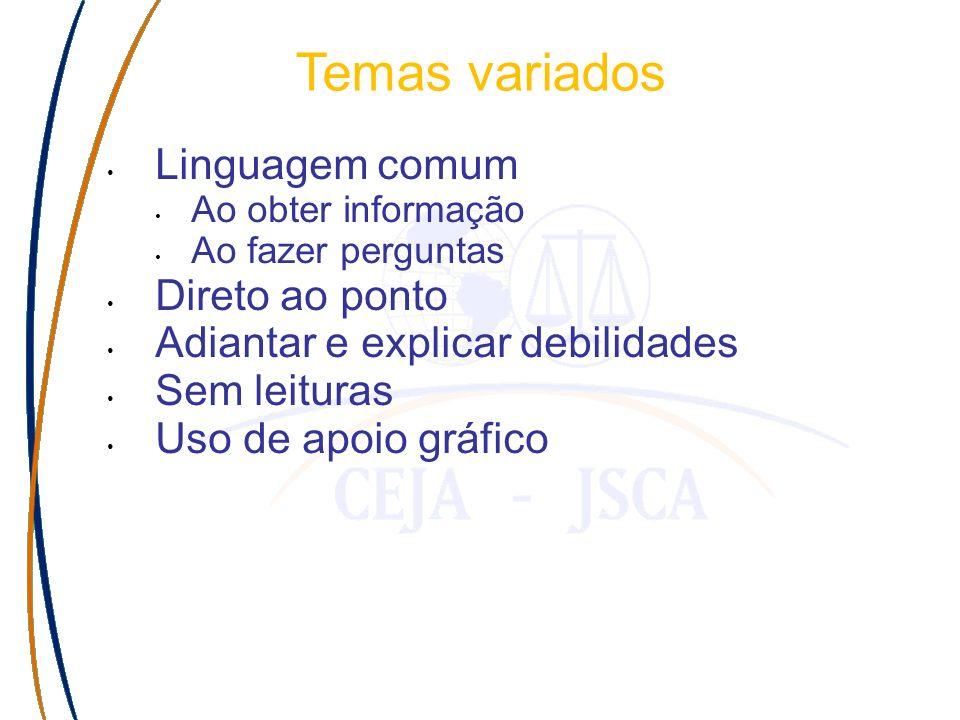 Temas variados Linguagem comum Ao obter informação Ao fazer perguntas Direto ao ponto Adiantar e explicar debilidades Sem leituras Uso de apoio gráfico