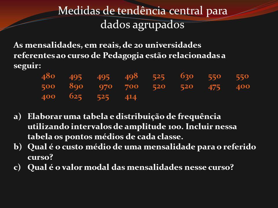 Medidas de tendência central para dados agrupados As mensalidades, em reais, de 20 universidades referentes ao curso de Pedagogia estão relacionadas a