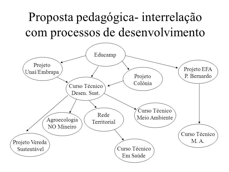 Proposta pedagógica- interrelação com processos de desenvolvimento Educamp Projeto Unaí/Embrapa Curso Técnico Desen. Sust. Projeto Colônia Projeto EFA