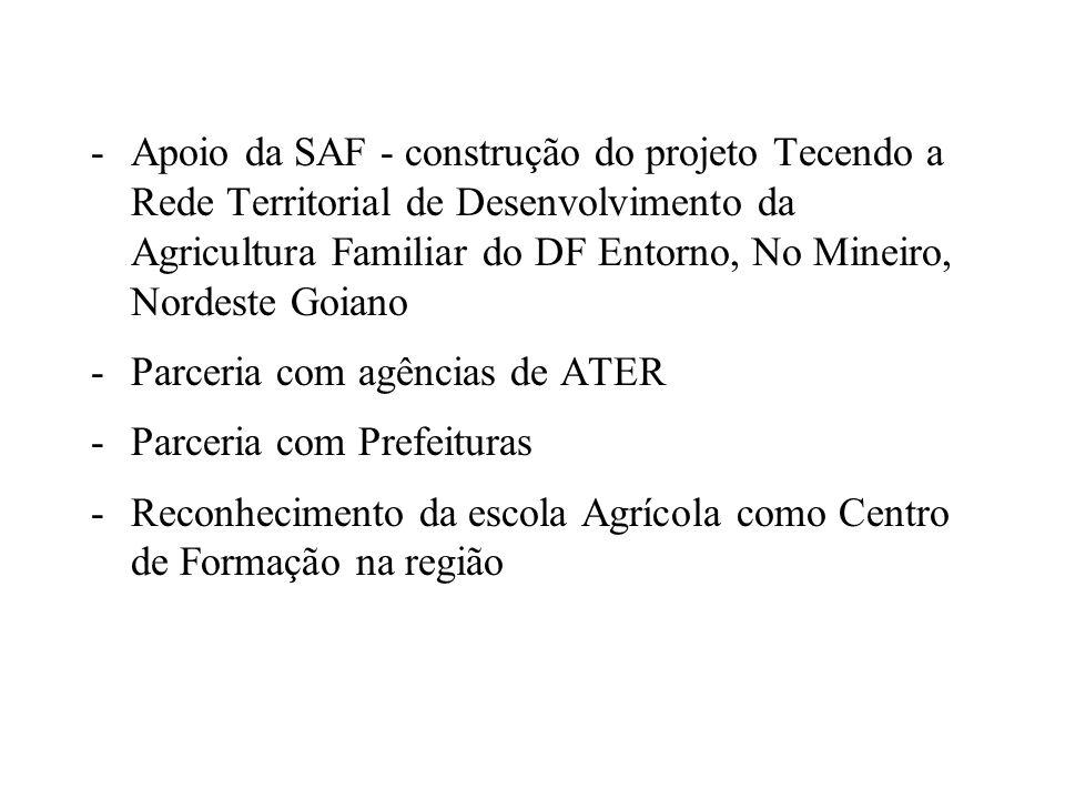 -Apoio da SAF - construção do projeto Tecendo a Rede Territorial de Desenvolvimento da Agricultura Familiar do DF Entorno, No Mineiro, Nordeste Goiano