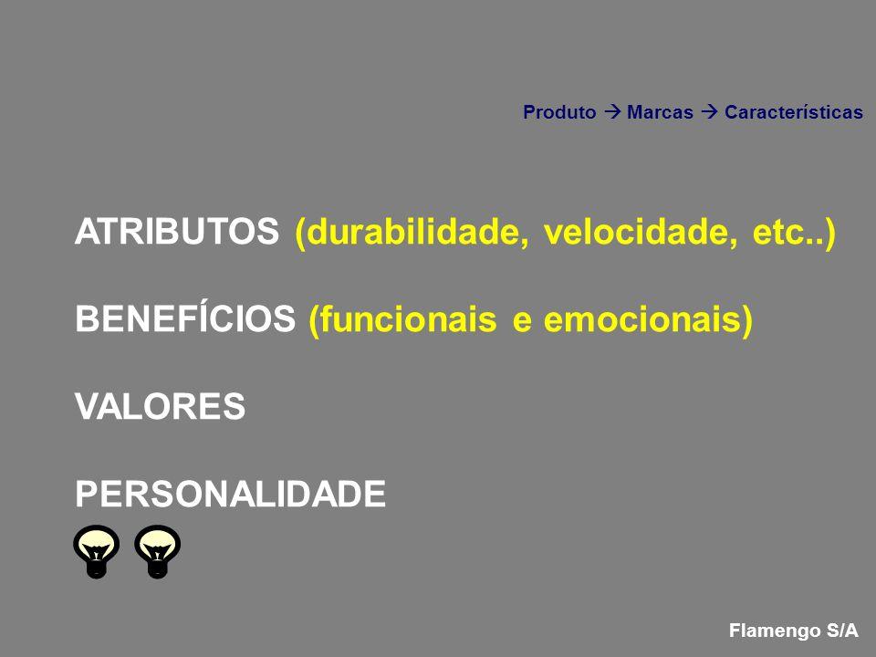 ATRIBUTOS (durabilidade, velocidade, etc..) BENEFÍCIOS (funcionais e emocionais) VALORES PERSONALIDADE Flamengo S/A Produto Marcas Características