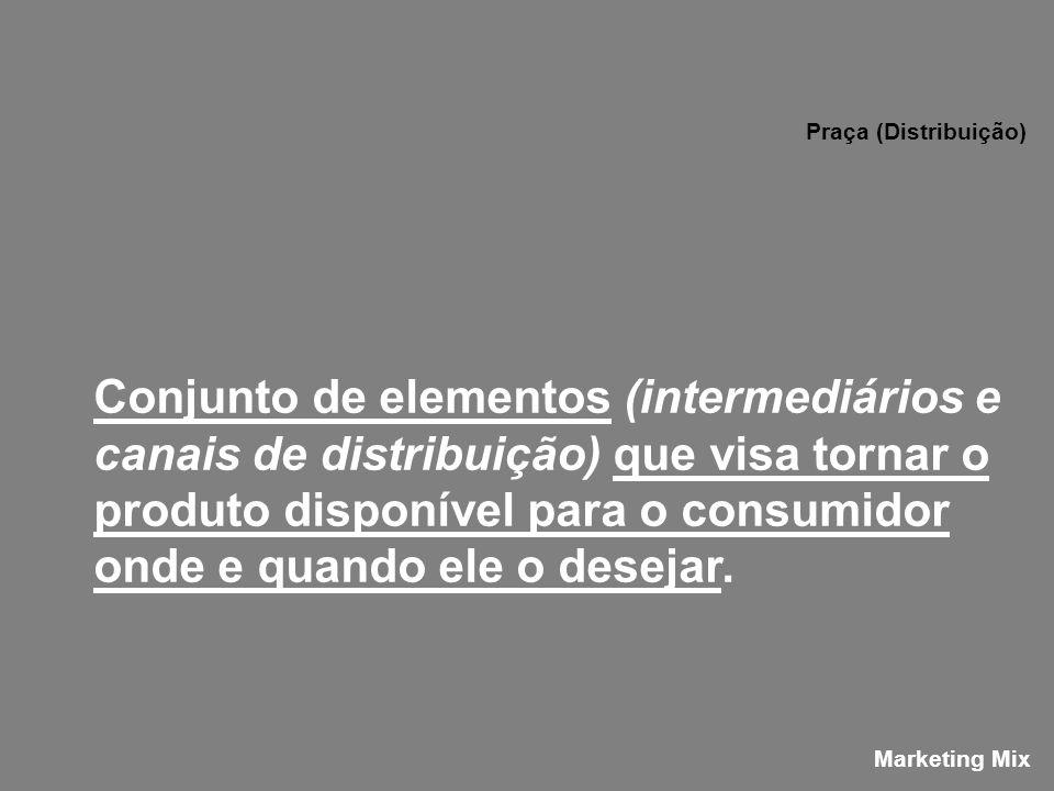 Conjunto de elementos (intermediários e canais de distribuição) que visa tornar o produto disponível para o consumidor onde e quando ele o desejar. Pr