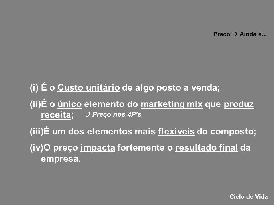 (i)É o Custo unitário de algo posto a venda; (ii)É o único elemento do marketing mix que produz receita; (iii)É um dos elementos mais flexíveis do com