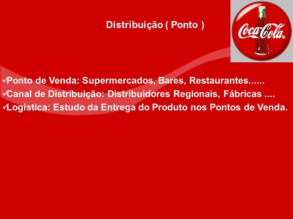 Ponto de Venda: Supermercados, Bares, Restaurantes...... Canal de Distribuição: Distribuidores Regionais, Fábricas.... Logística: Estudo da Entrega do