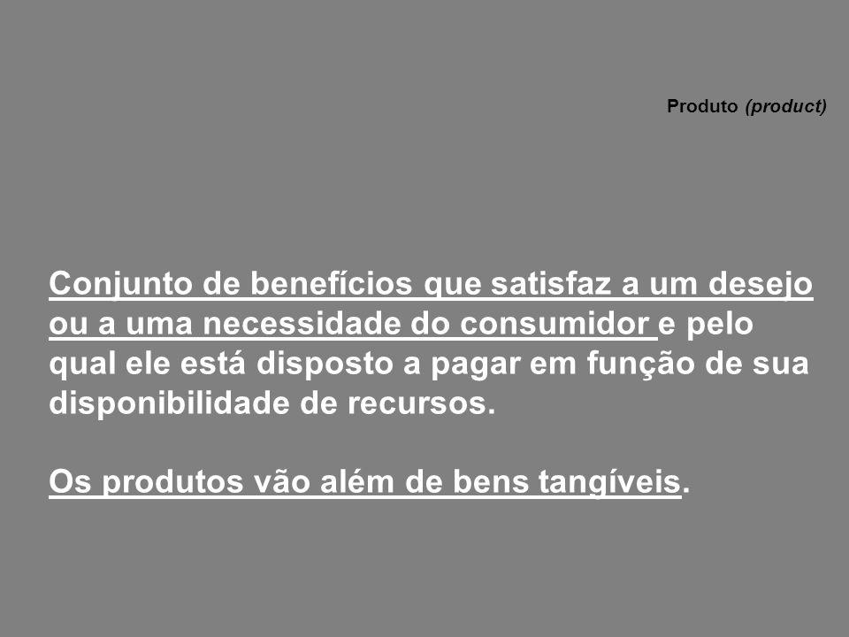 Conjunto de benefícios que satisfaz a um desejo ou a uma necessidade do consumidor e pelo qual ele está disposto a pagar em função de sua disponibilid