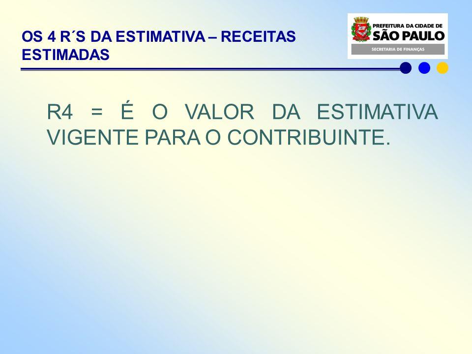 OS 4 R´S DA ESTIMATIVA – RECEITAS ESTIMADAS R4 = É O VALOR DA ESTIMATIVA VIGENTE PARA O CONTRIBUINTE.
