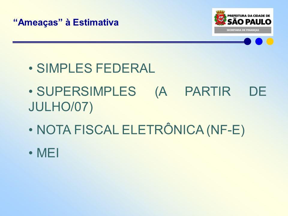 Ameaças à Estimativa SIMPLES FEDERAL SUPERSIMPLES (A PARTIR DE JULHO/07) NOTA FISCAL ELETRÔNICA (NF-E) MEI
