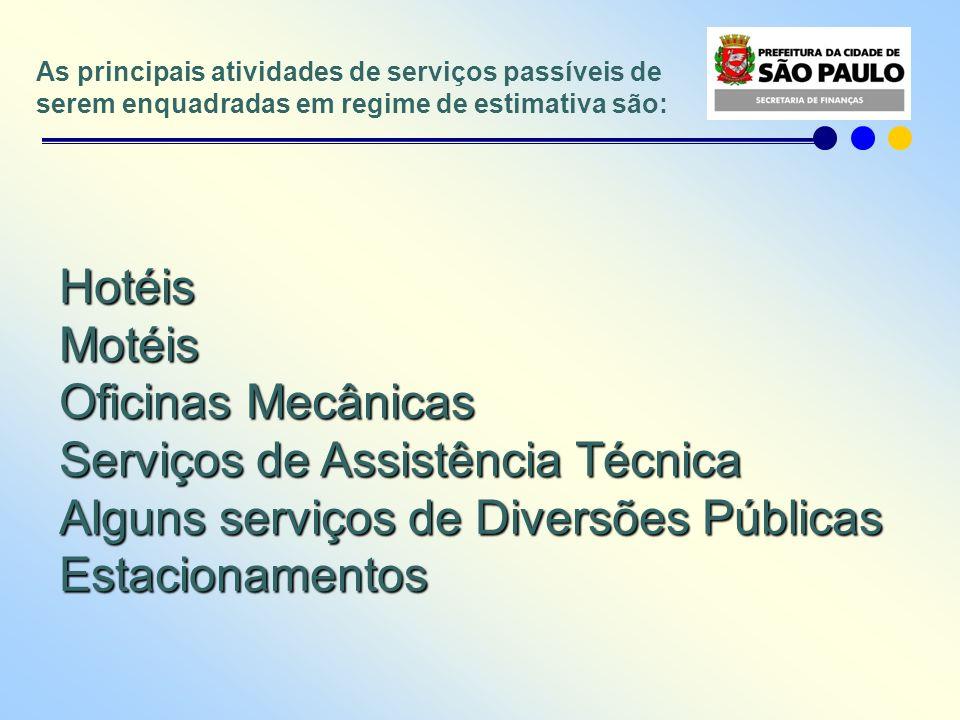 As principais atividades de serviços passíveis de serem enquadradas em regime de estimativa são: HotéisMotéis Oficinas Mecânicas Serviços de Assistênc