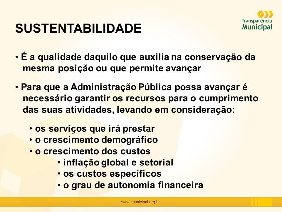 www.tmunicipal.org.br SUSTENTABILIDADE É a qualidade daquilo que auxilia na conservação da mesma posição ou que permite avançar Para que a Administraç