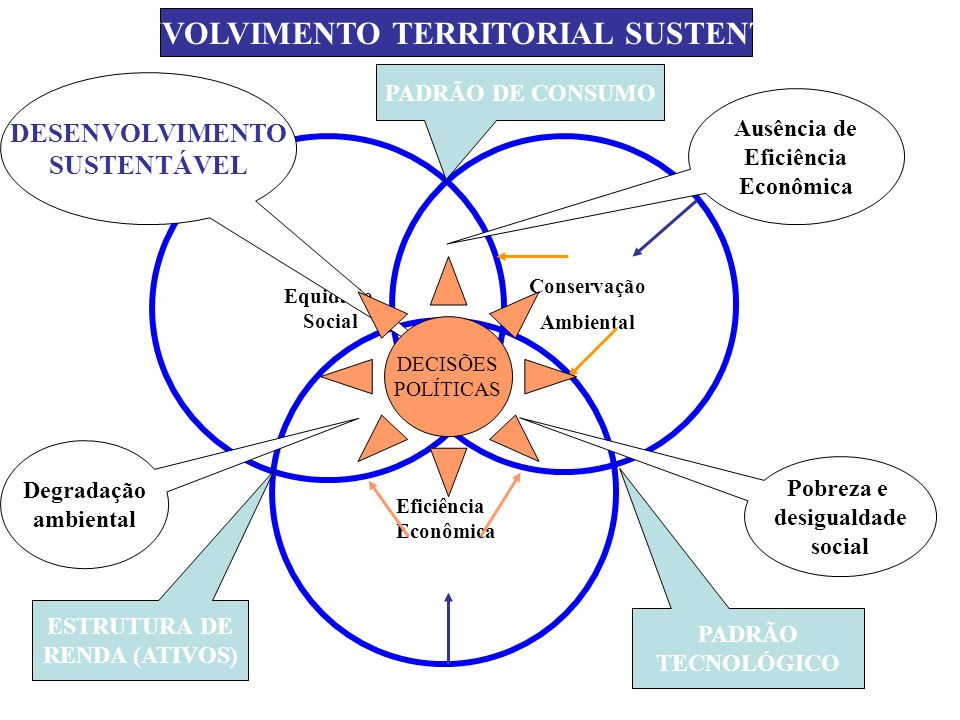 Equidade Social Conservação Ambiental Eficiência Econômica DESENVOLVIMENTO TERRITORIAL SUSTENTÁVEL Ausência de Eficiência Econômica Pobreza e desigual