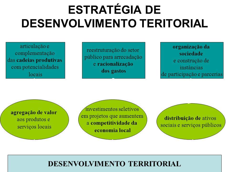 ESTRATÉGIA DE DESENVOLVIMENTO TERITORIAL articulação e complementação das cadeias produtivas com potencialidades locais organização da sociedade e con