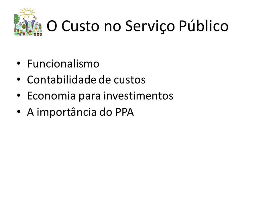 O Custo no Serviço Público Funcionalismo Contabilidade de custos Economia para investimentos A importância do PPA