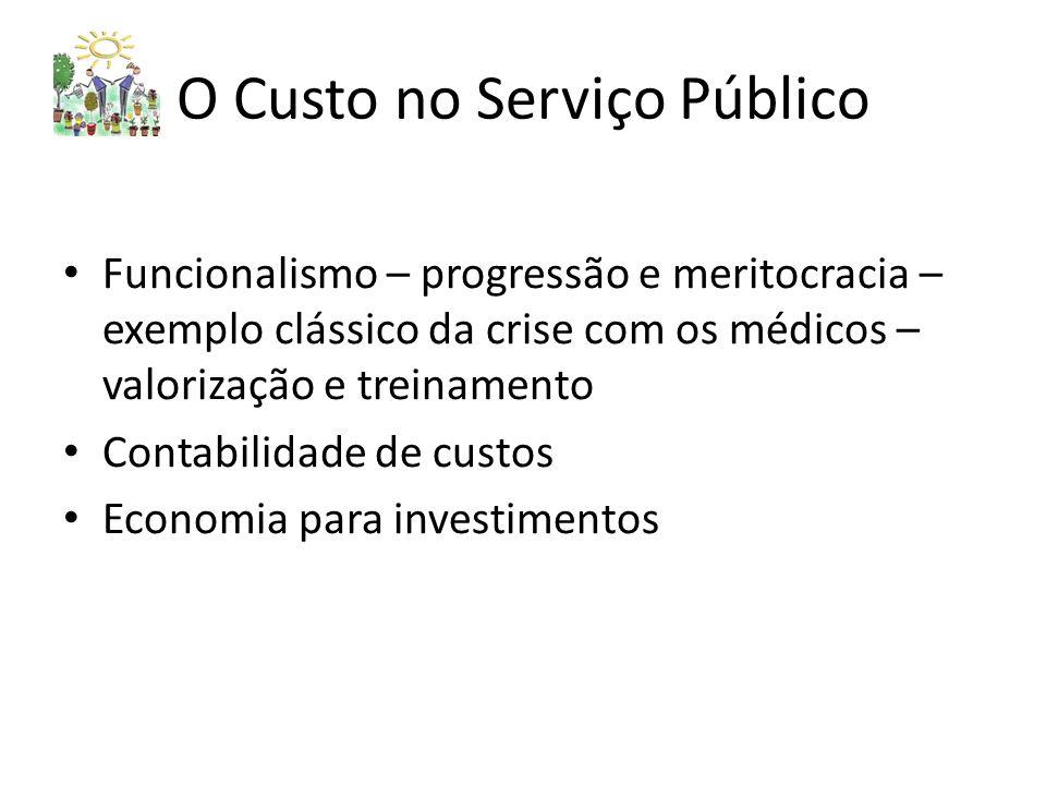 O Custo no Serviço Público Funcionalismo – progressão e meritocracia – exemplo clássico da crise com os médicos – valorização e treinamento Contabilidade de custos Economia para investimentos