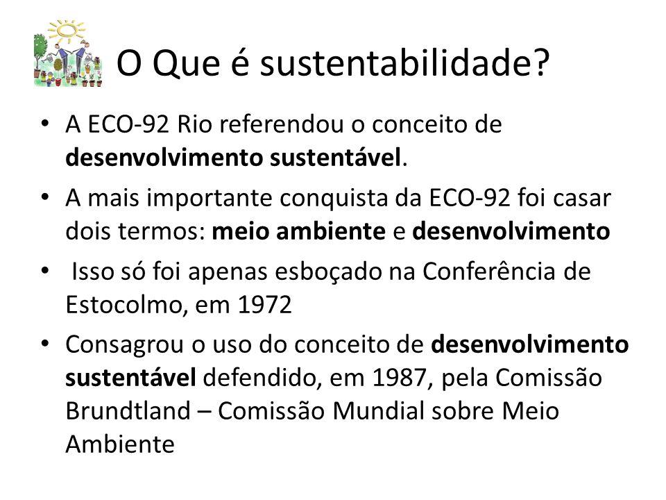 O Que é sustentabilidade.A ECO-92 Rio referendou o conceito de desenvolvimento sustentável.