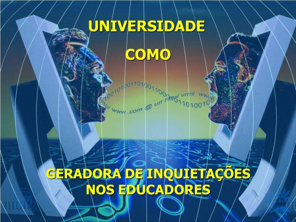UNIVERSIDADE COMO GERADORA DE INQUIETAÇÕES NOS EDUCADORES Mudanças sociais ocorrem não só Brasil, como também em todo mundo Mudanças sociais ocorrem não só Brasil, como também em todo mundo Decorrentes de muitos aspectos, como: industrialização que incrementou o rápido avanço da ciência e da tecnologia, Decorrentes de muitos aspectos, como: industrialização que incrementou o rápido avanço da ciência e da tecnologia, Esquecendo muitas vezes, do homem e do seu valor, Esquecendo muitas vezes, do homem e do seu valor, O valor hoje embasa-se no produzir, cada vez mais e com mais produtividade, O valor hoje embasa-se no produzir, cada vez mais e com mais produtividade, Em conseqüência, mediatiza-se o homem, coisifica-se o ser humano como um instrumento de trabalho ou peça de uma engrenagem, Em conseqüência, mediatiza-se o homem, coisifica-se o ser humano como um instrumento de trabalho ou peça de uma engrenagem, A dignidade da pessoa é colocada a margem dos interesses econômicos e políticos da sociedade A dignidade da pessoa é colocada a margem dos interesses econômicos e políticos da sociedade