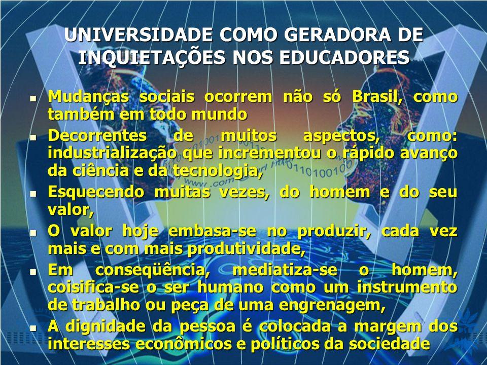 UNIVERSIDADE COMO GERADORA DE INQUIETAÇÕES NOS EDUCADORES Mudanças sociais ocorrem não só Brasil, como também em todo mundo Mudanças sociais ocorrem n