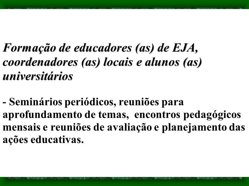 Formação de educadores (as) de EJA, coordenadores (as) locais e alunos (as) universitários Formação de educadores (as) de EJA, coordenadores (as) loca