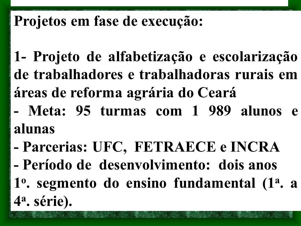 Projetos em fase de execução: 1- Projeto de alfabetização e escolarização de trabalhadores e trabalhadoras rurais em áreas de reforma agrária do Ceará