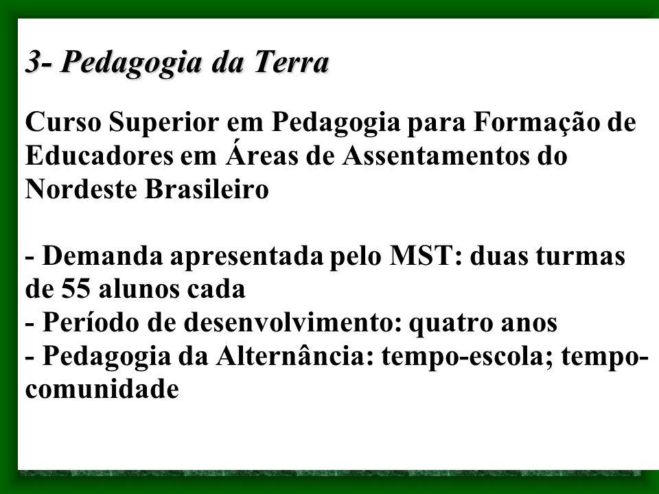 3- Pedagogia da Terra 3- Pedagogia da Terra Curso Superior em Pedagogia para Formação de Educadores em Áreas de Assentamentos do Nordeste Brasileiro -