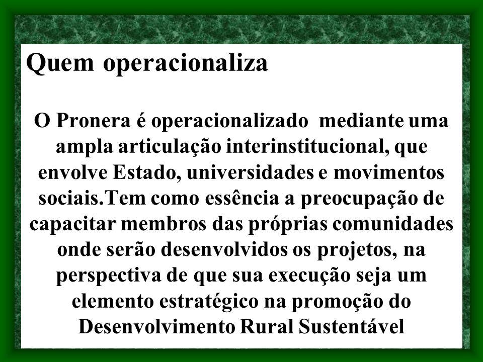 Quem operacionaliza O Pronera é operacionalizado mediante uma ampla articulação interinstitucional, que envolve Estado, universidades e movimentos soc