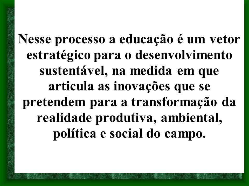 Nesse processo a educação é um vetor estratégico para o desenvolvimento sustentável, na medida em que articula as inovações que se pretendem para a tr