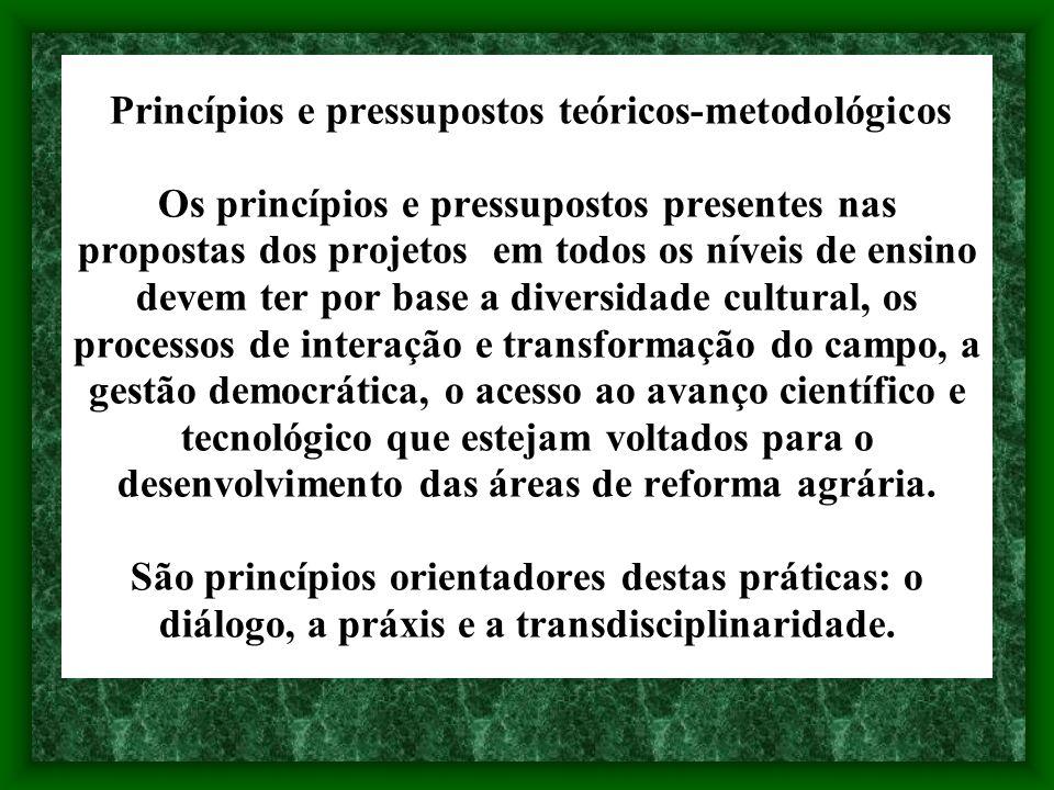 Princípios e pressupostos teóricos-metodológicos Os princípios e pressupostos presentes nas propostas dos projetos em todos os níveis de ensino devem