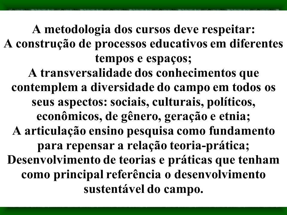 A metodologia dos cursos deve respeitar: A construção de processos educativos em diferentes tempos e espaços; A transversalidade dos conhecimentos que