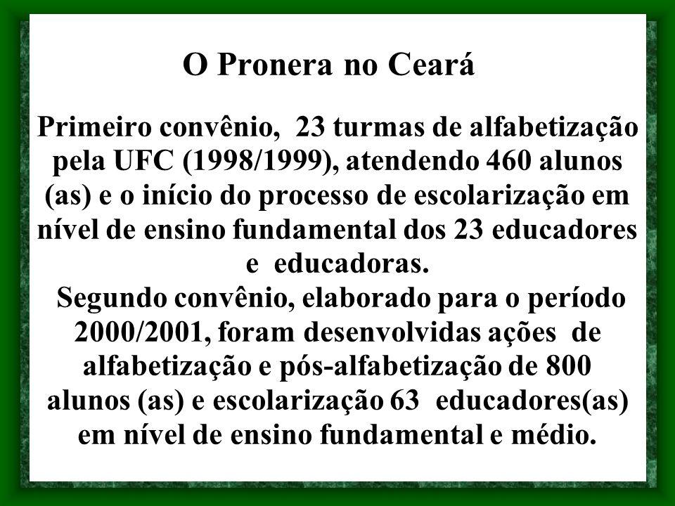 O Pronera no Ceará Primeiro convênio, 23 turmas de alfabetização pela UFC (1998/1999), atendendo 460 alunos (as) e o início do processo de escolarizaç