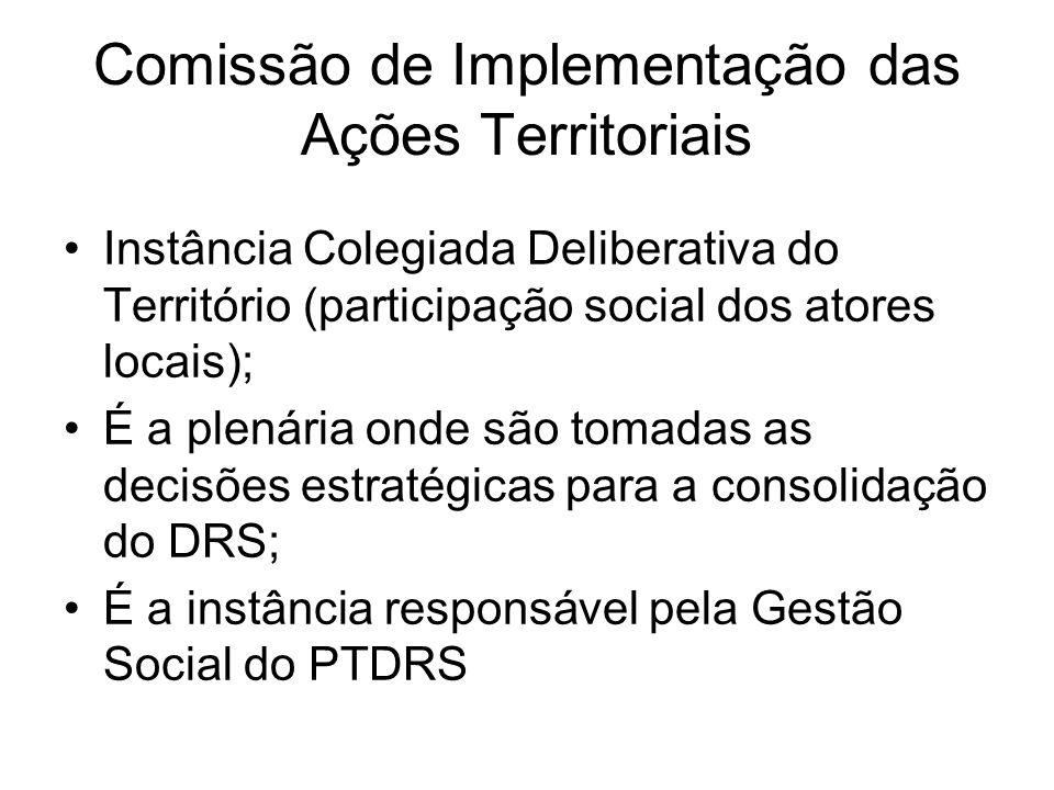 Comissão de Implementação das Ações Territoriais Instância Colegiada Deliberativa do Território (participação social dos atores locais); É a plenária
