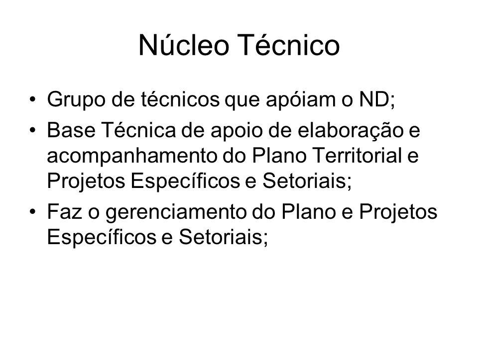 Núcleo Técnico Grupo de técnicos que apóiam o ND; Base Técnica de apoio de elaboração e acompanhamento do Plano Territorial e Projetos Específicos e S