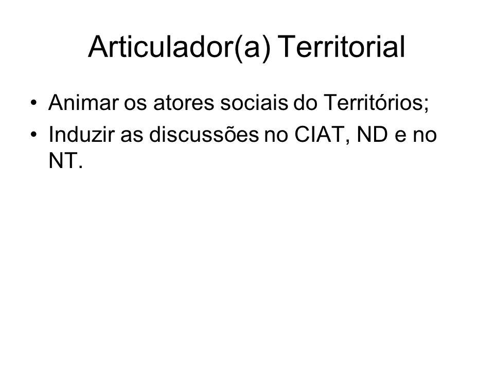 Articulador(a) Territorial Animar os atores sociais do Territórios; Induzir as discussões no CIAT, ND e no NT.