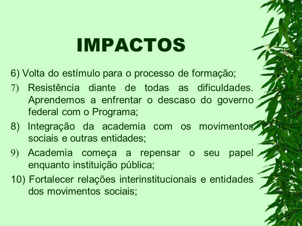IMPACTOS 1.A integração do saber do campo e do saber da cidade; 2.