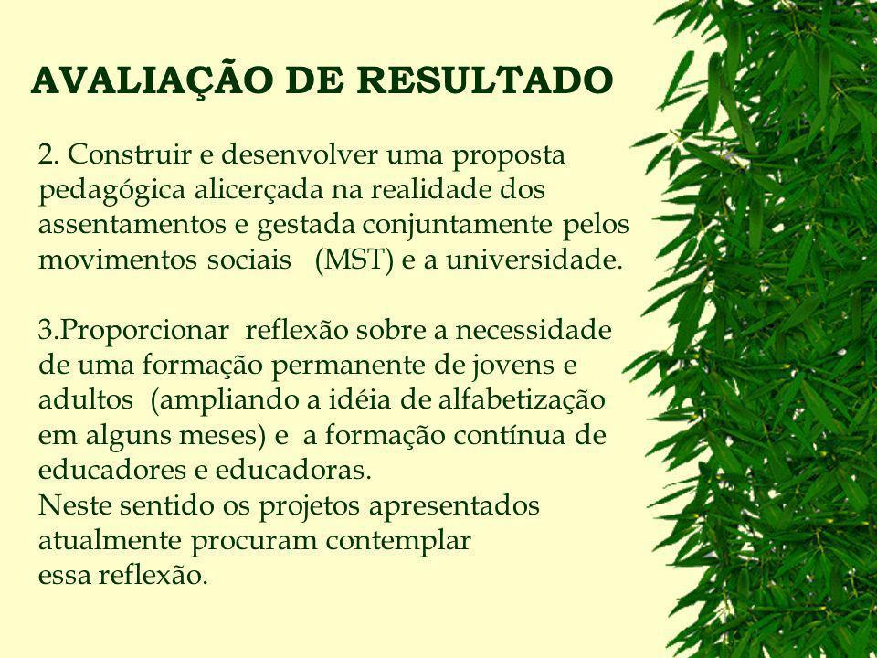 AVALIAÇÃO DE RESULTADO Implementação de uma nova prática alfabetizadora vinculada com as necessidades e os desafios da luta pela reforma agrária e pelas transformações sociais em nosso país.