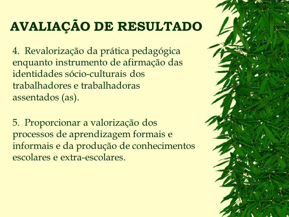 AVALIAÇÃO DE RESULTADO 2. Construir e desenvolver uma proposta pedagógica alicerçada na realidade dos assentamentos e gestada conjuntamente pelos movi