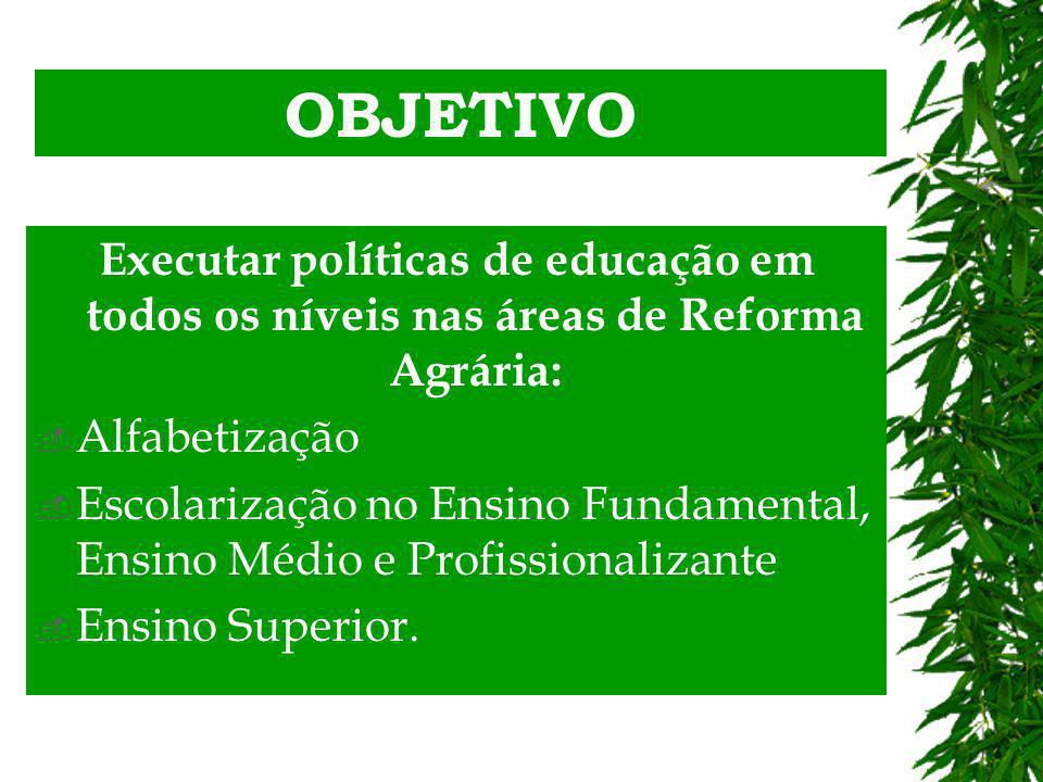 OBJETIVO Executar políticas de educação em todos os níveis nas áreas de Reforma Agrária: Alfabetização Escolarização no Ensino Fundamental, Ensino Médio e Profissionalizante Ensino Superior.