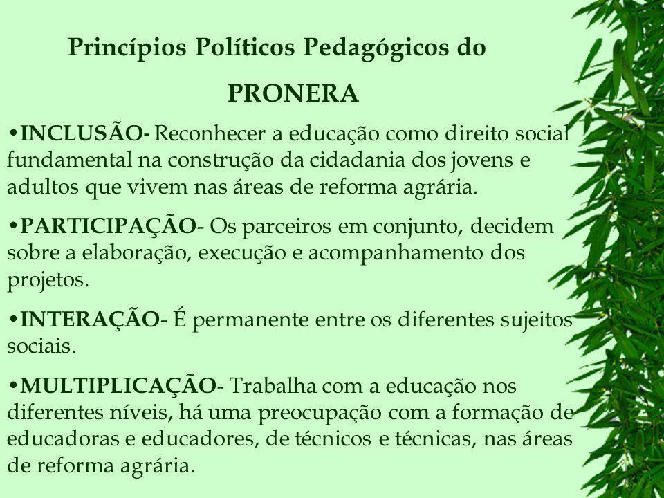 METODOLOGIA O PRONERA pretende promover a elevação escolar por meio de metodologias de ensino ajustadas à realidade sócio-cultural do campo, orientação pedagógica que atenda às reivindicações dos movimentos sociais e de acordo com as diretrizes operacionais para a educação básica nas escolas do campo instituída em abril de 2002 pelo CNE.
