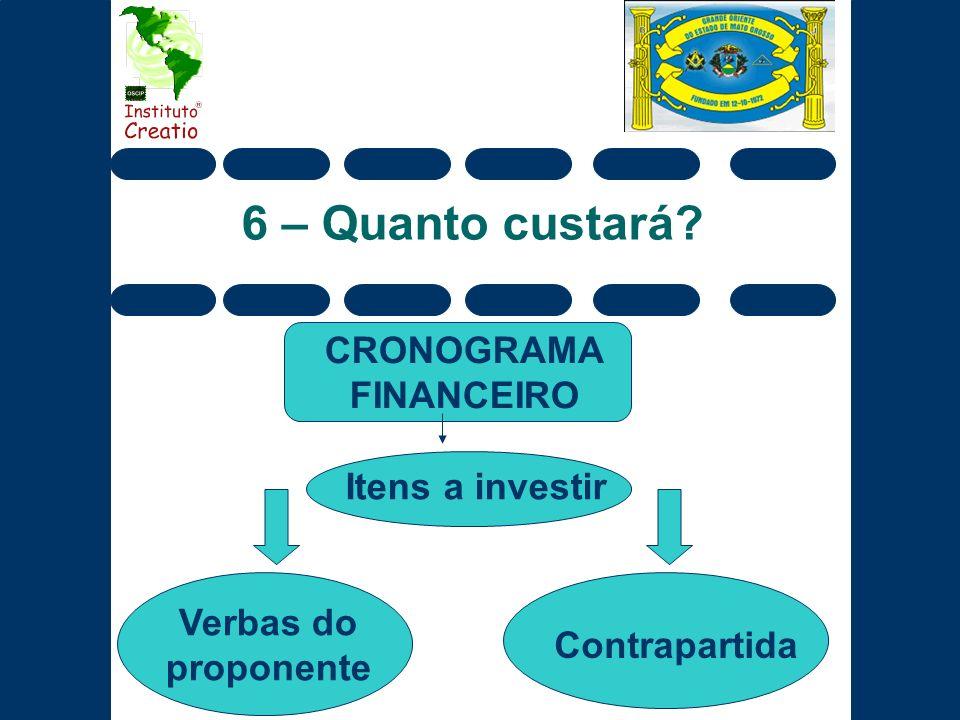 6 – Quanto custará? CRONOGRAMA FINANCEIRO Verbas do proponente Contrapartida Itens a investir