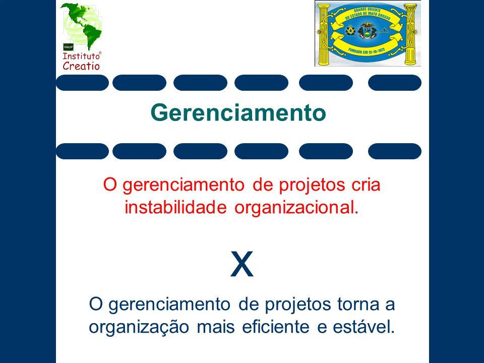 Gerenciamento O gerenciamento de projetos cria instabilidade organizacional. x O gerenciamento de projetos torna a organização mais eficiente e estáve