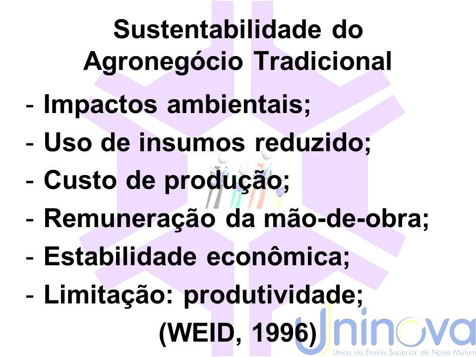 Agronegócio Tradicional Agricultura diversificada Sistemas heterogêneos Comércio do excedente Variáveis produtivas ambientais Biodiversidade