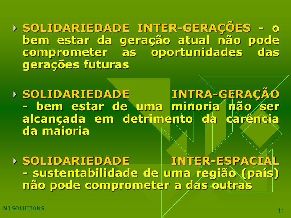 MJ SOLUTIONS 11 SOLIDARIEDADE INTER-GERAÇÕES - o bem estar da geração atual não pode comprometer as oportunidades das gerações futuras SOLIDARIEDADE INTRA-GERAÇÃO - bem estar de uma minoria não ser alcançada em detrimento da carência da maioria SOLIDARIEDADE INTER-ESPACIAL - sustentabilidade de uma região (país) não pode comprometer a das outras