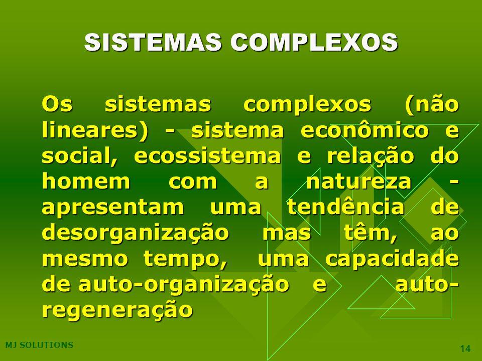 MJ SOLUTIONS 14 Os sistemas complexos (não lineares) - sistema econômico e social, ecossistema e relação do homem com a natureza - apresentam uma tendência de desorganização mas têm, ao mesmo tempo, uma capacidade de auto-organização e auto- regeneração SISTEMAS COMPLEXOS