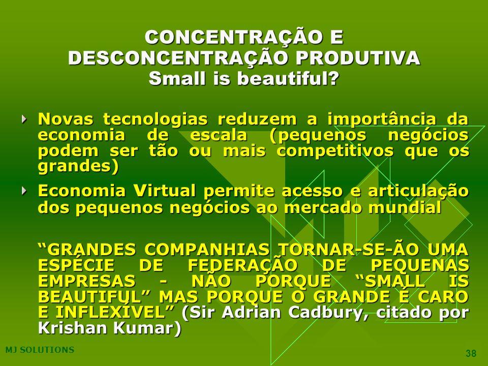 MJ SOLUTIONS 38 CONCENTRAÇÃO E DESCONCENTRAÇÃO PRODUTIVA Small is beautiful.