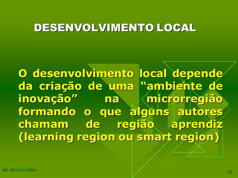 MJ SOLUTIONS 45 DESENVOLVIMENTO LOCAL O desenvolvimento local depende da criação de uma ambiente de inovação na microrregião formando o que alguns autores chamam de região aprendiz (learning region ou smart region)