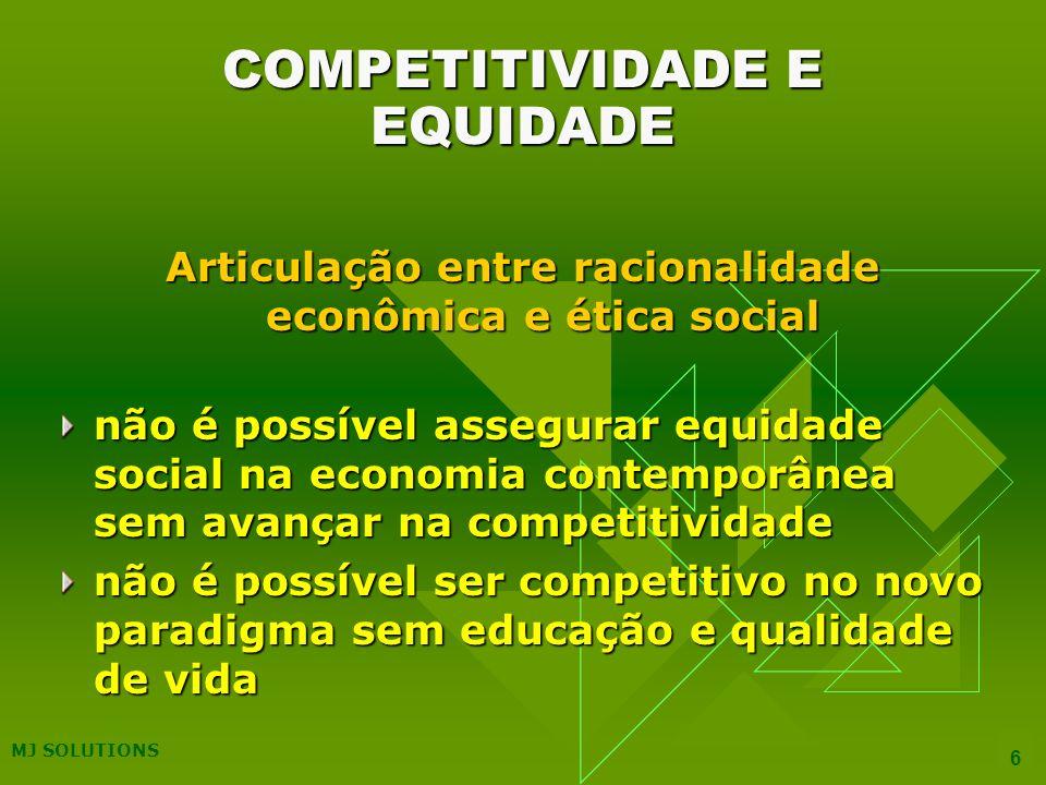 MJ SOLUTIONS 6 COMPETITIVIDADE E EQUIDADE Articulação entre racionalidade econômica e ética social não é possível assegurar equidade social na economia contemporânea sem avançar na competitividade não é possível ser competitivo no novo paradigma sem educação e qualidade de vida