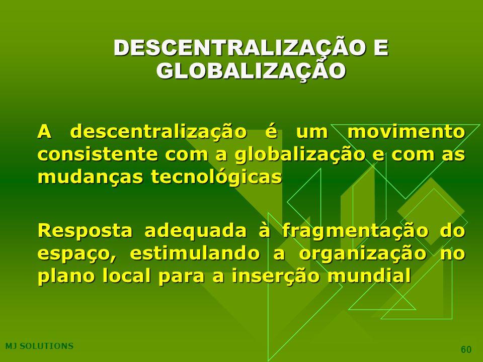 MJ SOLUTIONS 60 DESCENTRALIZAÇÃO E GLOBALIZAÇÃO A descentralização é um movimento consistente com a globalização e com as mudanças tecnológicas Resposta adequada à fragmentação do espaço, estimulando a organização no plano local para a inserção mundial